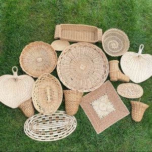DIY Statement Basket Wall Set of 15 Trivets Wicker